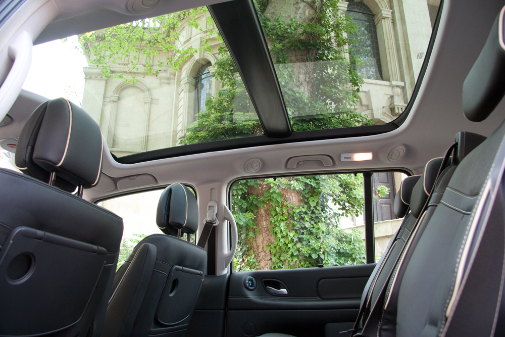 Car interior showing glass roof
