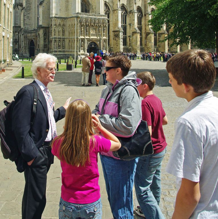 Peter with clients at Canterbury Cathedral